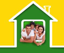 Happy family in the green house illustration Stock Illustration