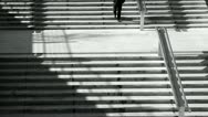 Man and stairs bw Stock Footage