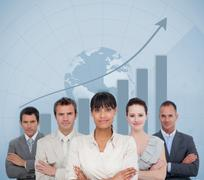 Business team smiling with a globe illustration Stock Illustration