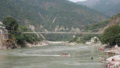 Suspension rope bridge Stock Footage