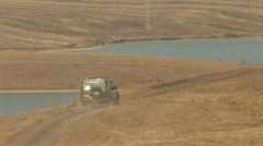 Car Offroad, Lake, Kazakhstan - stock footage