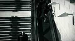 people and stairs 6 bw - stock footage