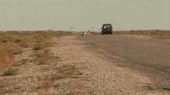 Offroad Car Roadside, Kazakhstan - stock footage