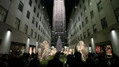 Rockefeller Center Christmas tree in New York City tilt down 24p - stock footage