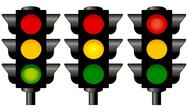 Traffic lights graphic isolated on white background Stock Illustration