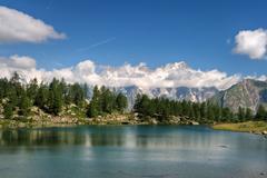 arpy lake, aosta valley, italy - stock photo