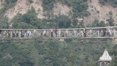 Small suspension bridge, traffic Stock Footage