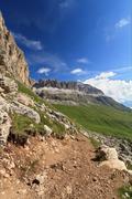 Pordoi pass and sella mountain Stock Photos