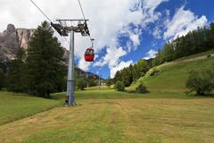 cableway in dolomites - stock photo