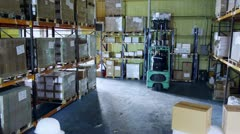 Male and female warehouse workers moving boxes around Stock Footage