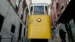 Lisbon train lift 2 Stock Footage