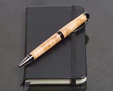 notebook or journal and pen - stock photo