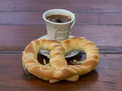 coffee and pretzel - stock photo