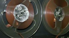 Old retro Reel Audio Recorder reels spinning Full HD - stock footage