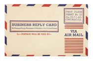 Stock Photo of vintage united states airmail business reply card.vintage united states airma