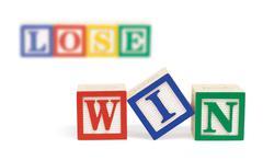 Stock Photo of win lose alphabet blocks