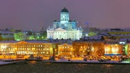 Stock Video Footage of Winter night scenery of Helsinki, Finland