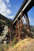 Railway Bridge In Mountains Portrait Format - stock photo
