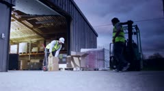 2 men stacking boxes onto a pallet outside a warehouse Stock Footage