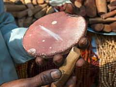 Selling sandalwood, indian street market Stock Photos