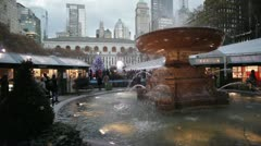 Bryant Park Fountain - Wide - Day Stock Footage