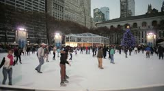 Bryant Park Ice Skating - Wide - Dusk Stock Footage