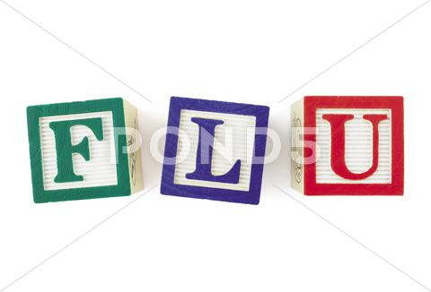 Stock Illustration of flu alphabet blocks, viewed from above