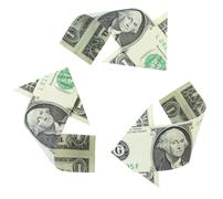 recycling dollars - stock photo