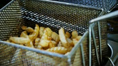 French fries in basket Stock Footage