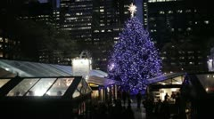 Bryant Park Christmas Tree - Night Stock Footage