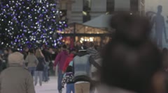 Bryant Park Ice Skating - Tree in BG  - Night  02 (NO GRADING) Stock Footage