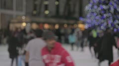 Bryant Park Ice Skating - Tree in BG - Various Focus Distances (NO GRADING) Stock Footage