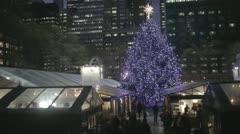 Bryant Park Christmas Tree - Night (NO GRADING) Stock Footage