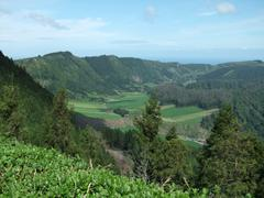 Panoramic scenery at the azores Stock Photos