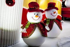 Snowman christmas decoration lights Stock Photos
