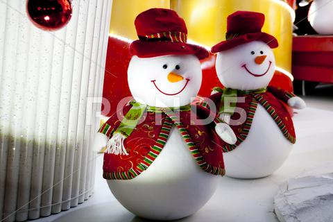 Stock photo of snowman christmas decoration lights