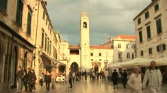 Streetlife, shopping centre, church Stock Footage