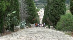 Spain - Mallorca - Pollensa - Calvari steps Stock Footage