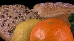 Citrus fruit and bread Stock Footage