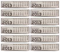 2013 kalenteri ruskea tekstuuri Mulberry paperi. Kuvituskuvat