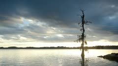 Sunset over the river - stock footage