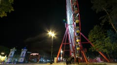 Ferris Wheel with fountain Stock Footage