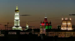 Uspensky Cathedral, House with a spire, City council Stock Footage