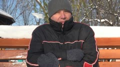 Man Trembling while Waiting for Somebody to Come, Man Being Cold, Winter Time Stock Footage