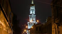 Timelapse of the church in the night Stock Footage