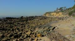 California rocky coastline at Little Corona Beach Stock Footage