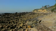 California rocky coastline at Little Corona Beach Stock Footage