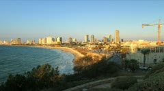 676 long shot of Tel-Aviv shore line in stop motion Stock Footage