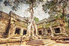 Ta prohm temple in retro style Stock Photos