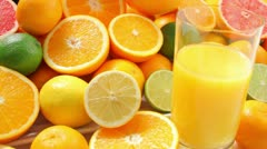 Citrus fruit and juice Stock Footage